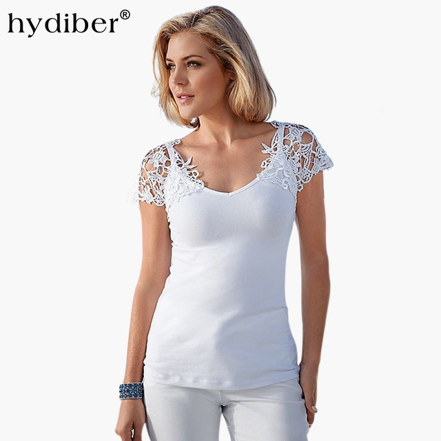 d2e906ea Europe Style Lace Patchwork Sexy Hollow Out T-shirt Women Tops 2018 Summer  New Brand Short Sleeve V-neck White Ladies Tshirt