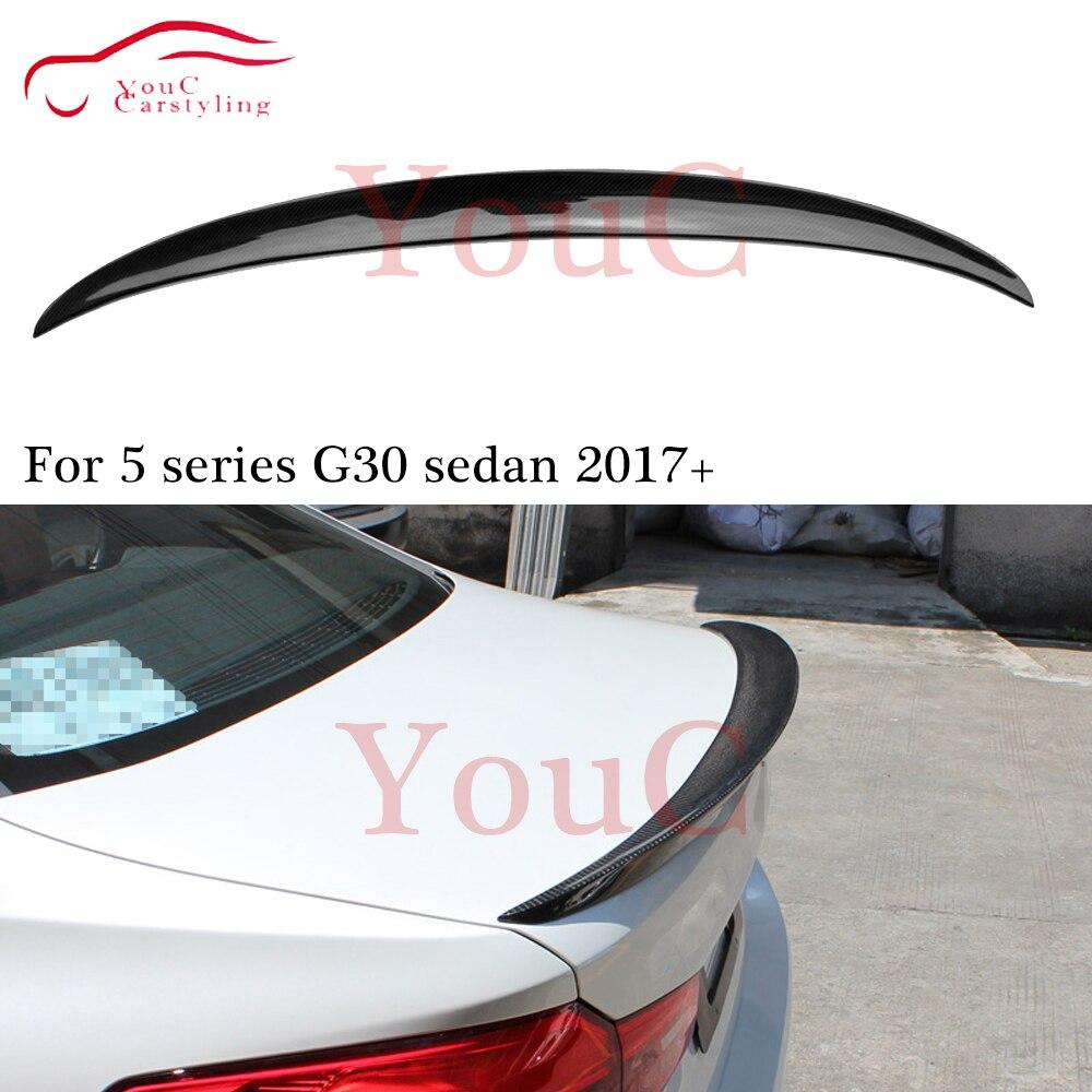 G30 M-performance Style Carbon Fiber Rear Spoiler Wing for BMW 5 Series G30 4-door Sedan Trunk Tail Boot Lip Splitter 2017 +