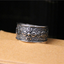 925 Sterling Silver Finger Ring Om mani padme hum Mantra Buddhism Symbol Couple Lover Jewelry