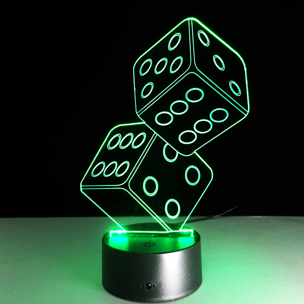 US $11 62 OFF Dice Game 3D LED Lamp Acrylic Colorful Deco Light LED Acrylic Remote Touch Control Visual Light Gift Table Novelty Lighting Toy 3d