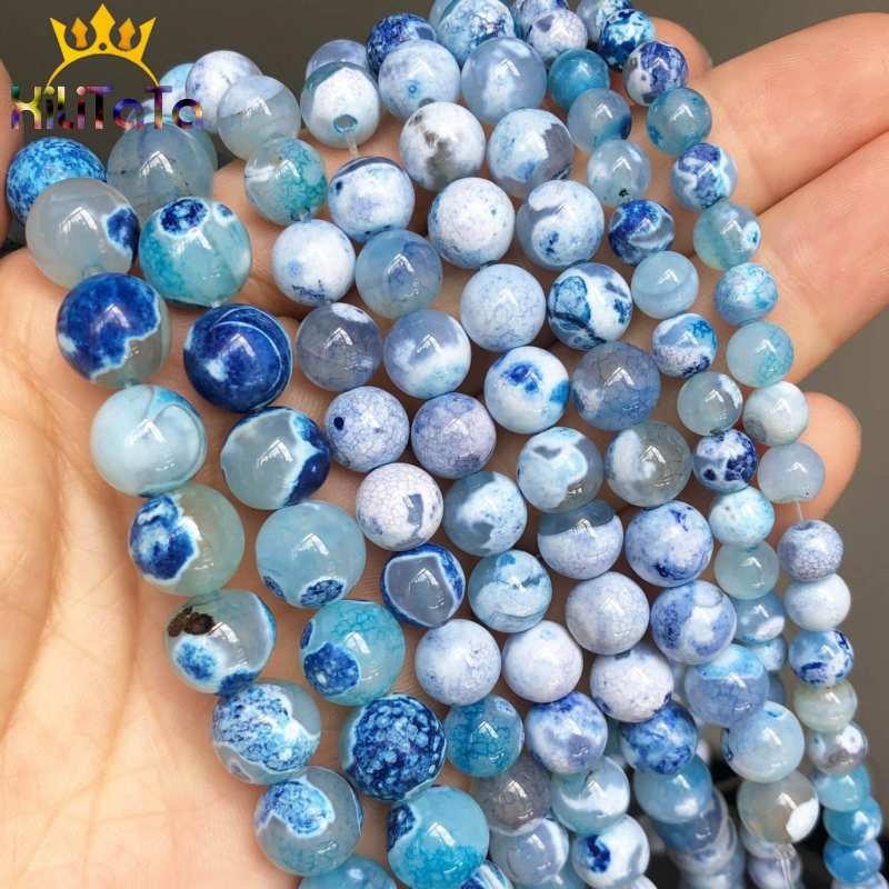 Blue Fire Dragon Veins Agates Onyx Round Loose Spacer Bead For Jewelry Making 6 8 10 12 mm DIY Bracelet Perles 15 quot Strand in Beads from Jewelry amp Accessories