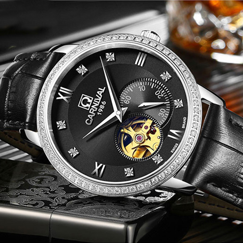 цена на Carnival Royal Diamond Design Black Gold Watch Montre Homme Mens Watches Top Brand Luxury Relogio Male Skeleton Mechanical Watch