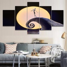 цена на 5 Panel Movie The Nightmare Before Christmas Jack Skellington Pumpkin Picture Canvas Print Painting Wall Art Decor Artwork