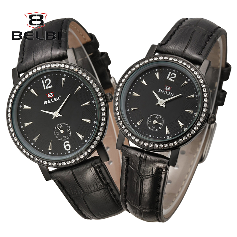 BELBI Luxury Lovers Couple Watches Men Waterproof Women Black Leather Quartz Wristwatch Montre Homme