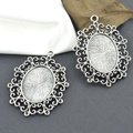Wholesale 10pcs/lots Metal tibetan silver charms filigree cabochon 25*19mm base pendants fit diy necklace jewelry supplies 3260