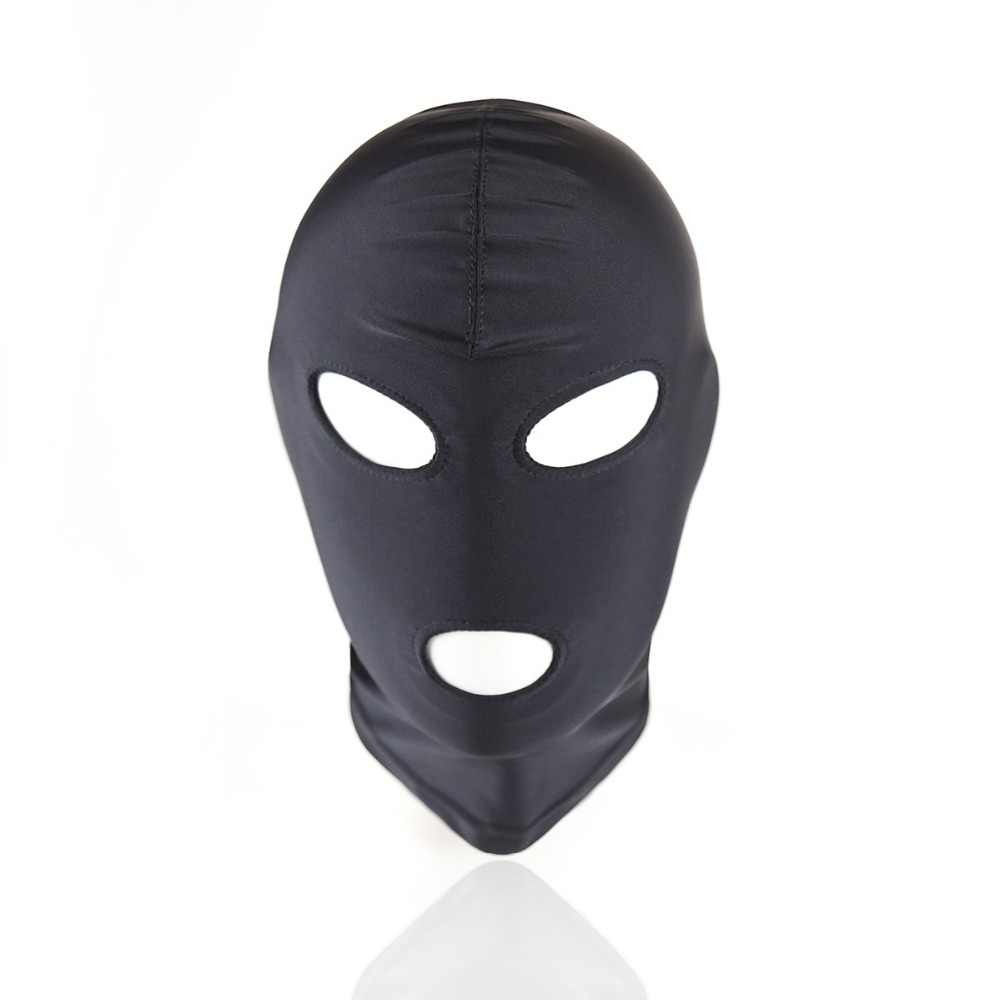 224b686df Party Cosplay Adult games cosplay head Mask bondage Spandex hood open eye  mouth black mask bdsm