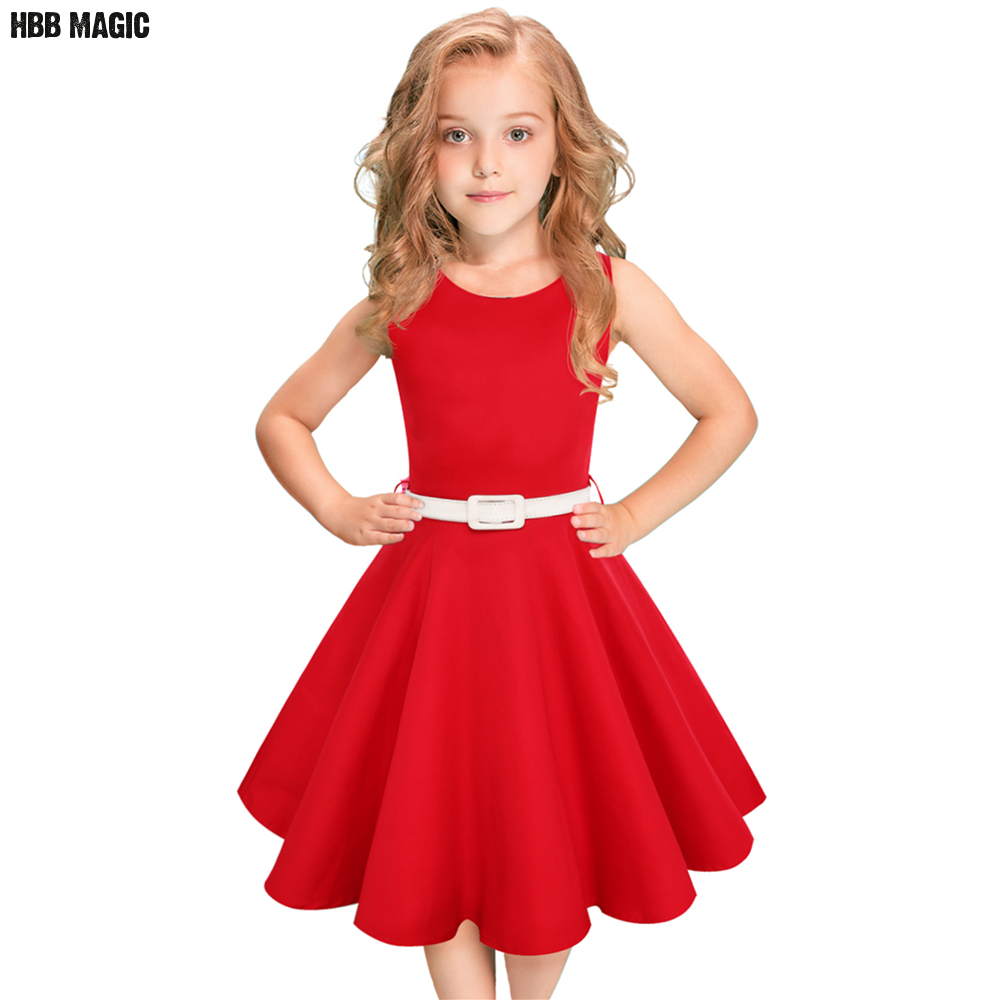 Red,Black Kids Girls Cotton Dresses 2018 Summer Sleeveless Girls Clothes With Belt Princess Children Girl Party Dress Size 5-12Y girl dress 2017 summer girls style fashion sleeveless printed dresses teenagers party clothes party dresses for girl 12 20 years