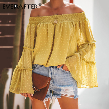 EVERAFTER Vintage Off Shoulder Solid Womens tops and blouse Long Sleeve Ruffles Chiffon Blouses Street Casual Tee 2019 Autumn