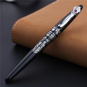 Image 3 - Bolígrafo De Bola metálico de alta gama Clip plateado de moda con rotuladores negros de gemas con una caja de regalo de lujo regalo de oficina de negocios regalo de Navidad