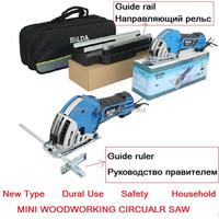 Complete Set Mini Circular Saw Household Desktop Dual use woodworking hand saws, guide base included, Big power 500W,15mm bore.