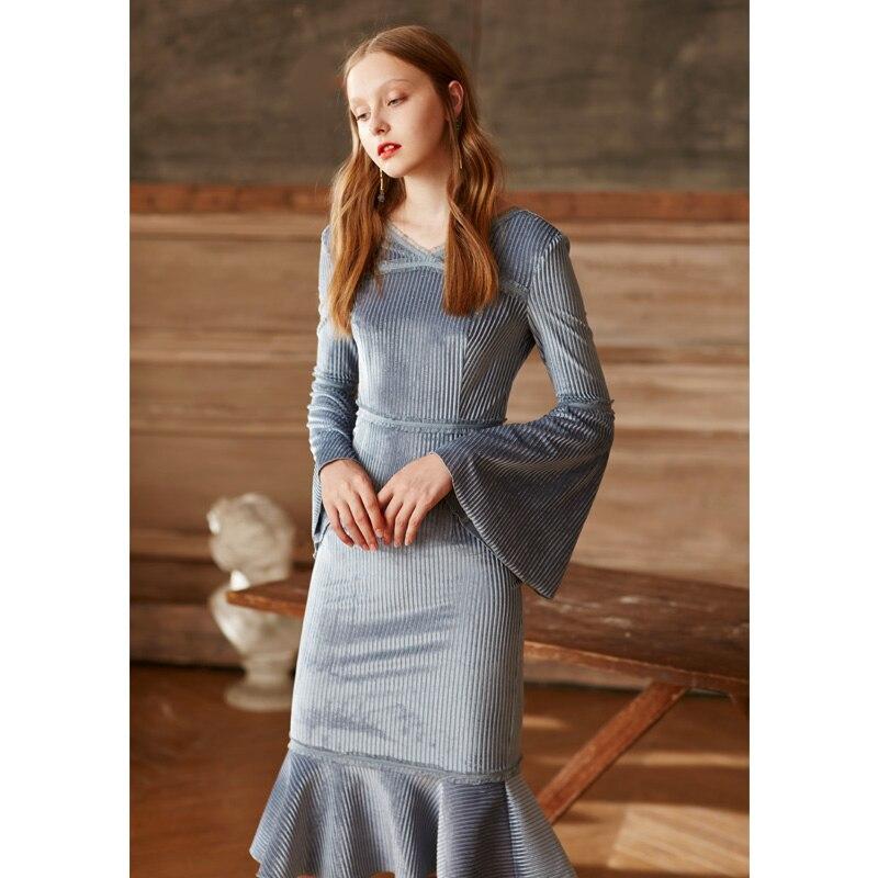 Modèles Robes Automne 2017 cou Longueur Pleine Femmes Velvet Mi Nouveau O Volants Vintage Sirène Manches Dames Robe mollet Mode BxwSqYAqdn