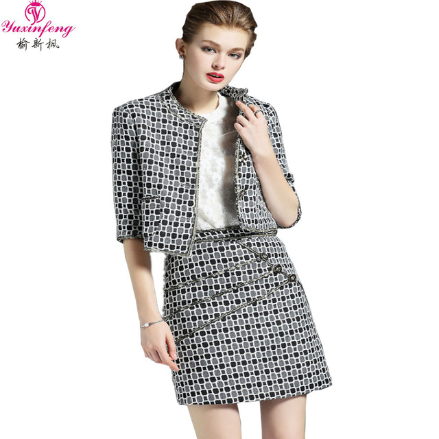 2016 Autumn Elegant Women Skirt Suits Business Office Uniform Ladies Designer Skirt Suits Plaid Blazer And Skirt Set 2 Piece In Skirt Suits From Women S Clothing Accessories