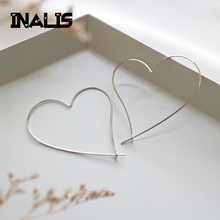 цены INALIS New Delicate Earrings S925 Sterling Silver Big Heart Ear Hook Simple Fashion Fine Jewelry for Women Girl Party Brincos