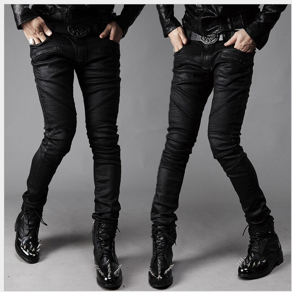 HOT New Fashion casual pants Thigh fold knee splicing locomotive jeans trousers hairstylist nightclub singer stage costumes