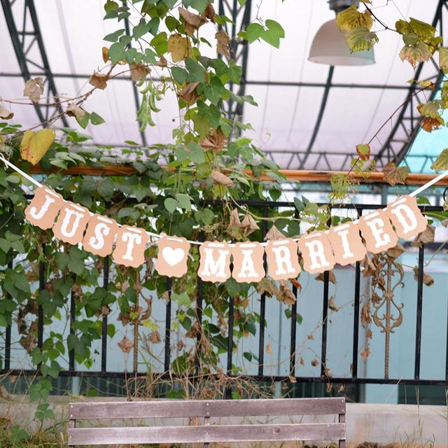 Hot Lovely Just Married Decorations Banner Vintage Wedding Decoration Mariage Paper Bunting Paper Garland Party Supplies