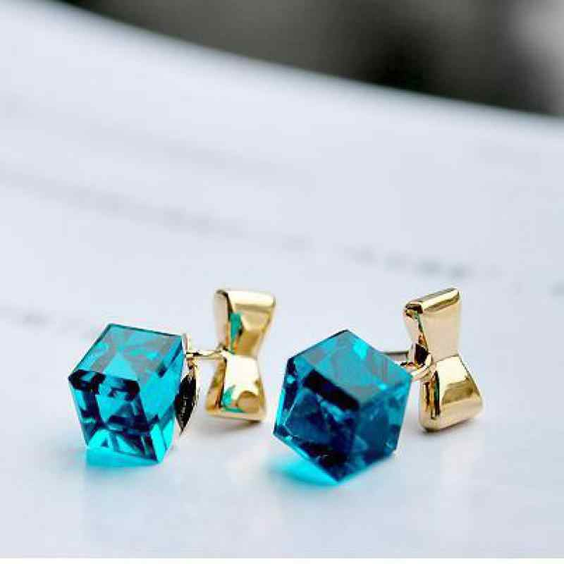 Fashion Exquisite Crystal Blue Water Cube Box Hot Bow Beautiful Earrings Jewelry Cube Type Female Earrings Wholesale