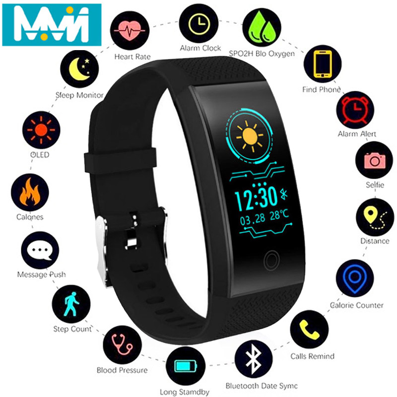 QW18 smart bracelet sports smart watch sports step heart rate fitness tracker men 39 s smart bracelet real time measurement smart in Smart Wristbands from Consumer Electronics