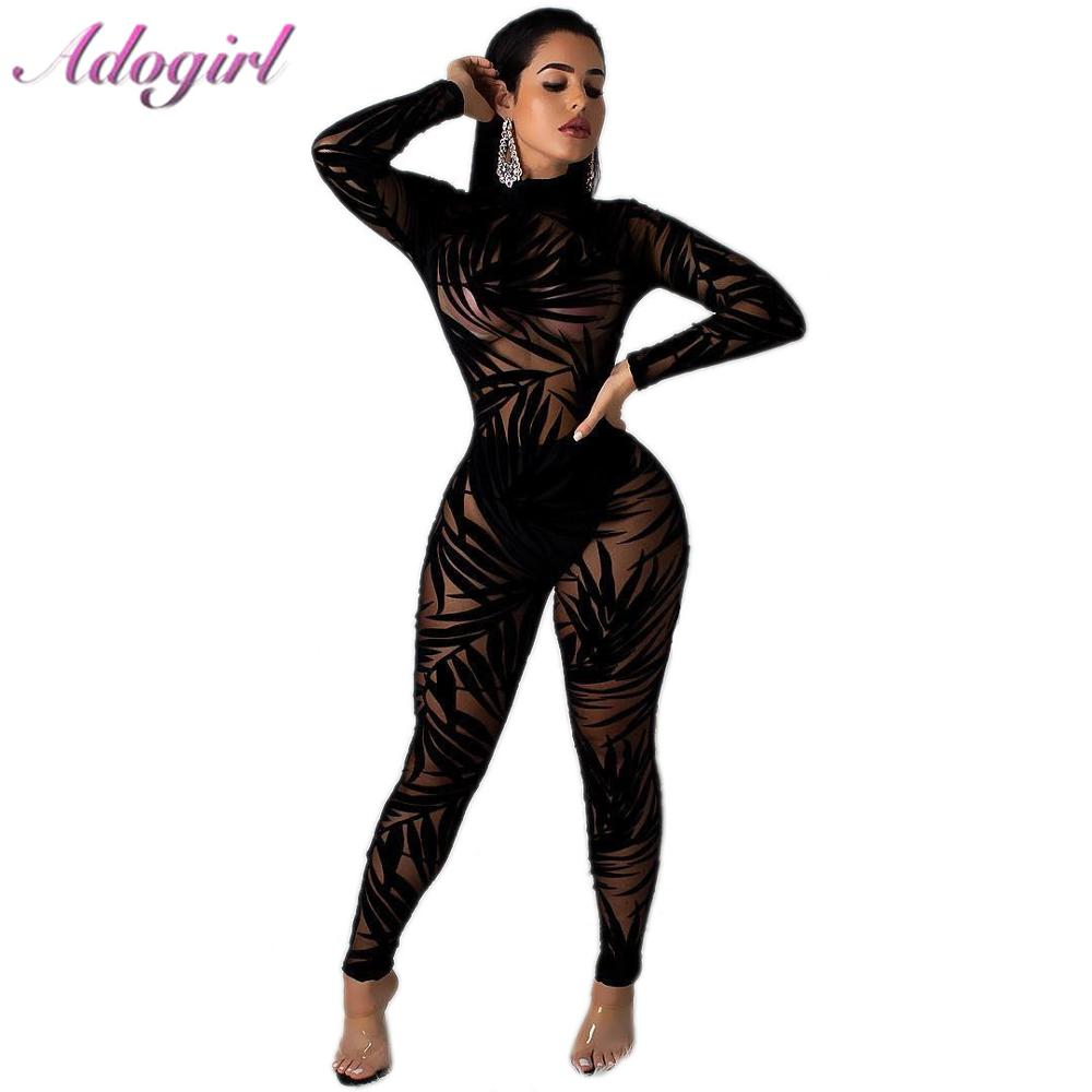 Sexy Night Party Club Black Lace Sheer Mesh Jumpsuit Women Casual Bamboo Leaf O Neck Long Sleeve Bodycon Rompers Female Overalls