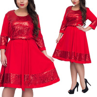5XL 6XL 2018 Fashion Elegant Large Size Dress Woman L 6XL Plus Size Sequins Party Dress