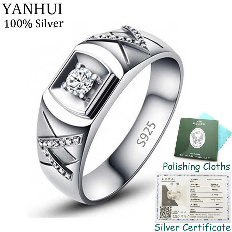 送料証明書送信され! 100% オリジナル 925 固体シルバーリングギフト男性ナチュラル 0.5Ct CZ ジルコン結婚指輪ファインジュエリー R077