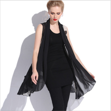 XL-4XL plus size women summer chiffon vest sleeveless print ruffles women's fashion vests