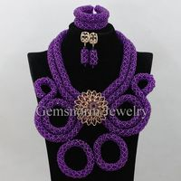 Exclusive Purple Nigerian African Wedding Beads Jewelry Set Chunky Bib Statement Necklace Set Gift For Women