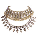 JOUVAL Trendy Big Choker Necklace Statement Chunky Double Layer Wide Chokers With Crystal Vintage Women 2017 Chocker N1669