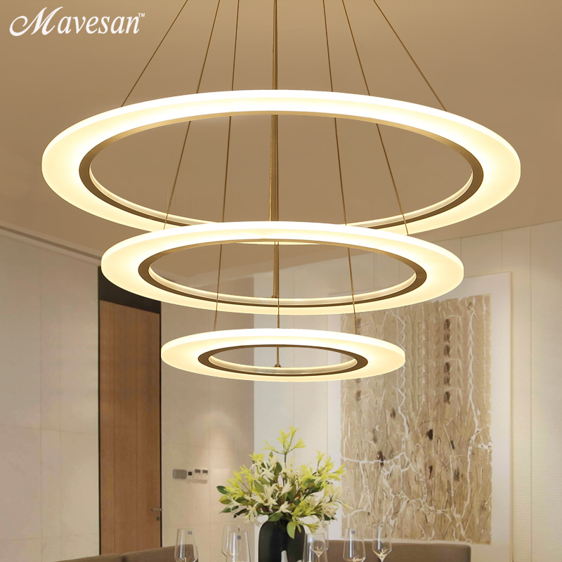 Creative modern led pendant lights kitchen acrylic metal for Suspension metal