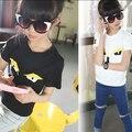 2-14 años, 2016 muchachas del verano de manga corta Camiseta de los muchachos niño de manga corta camisa básica elástico pequeño monstruo patrón
