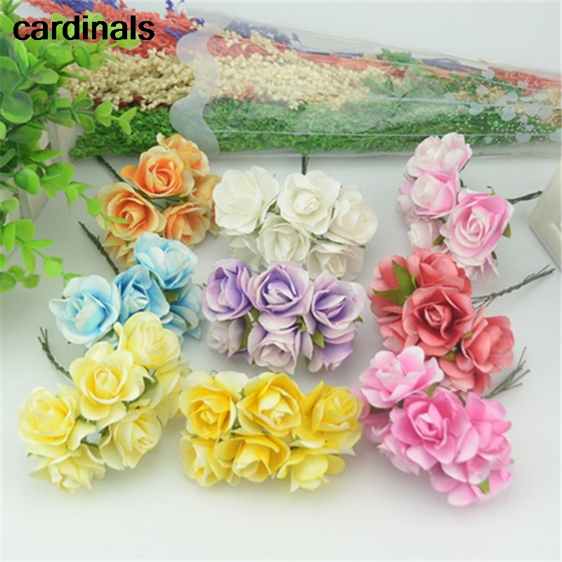 6pcs Lot 3 5cm Mini Paper Flowers Mini Rose Flower Hand Made Small Wedding Bouquet Flower For Diy Scrapbooking Christmas Decor In Artificial Dried