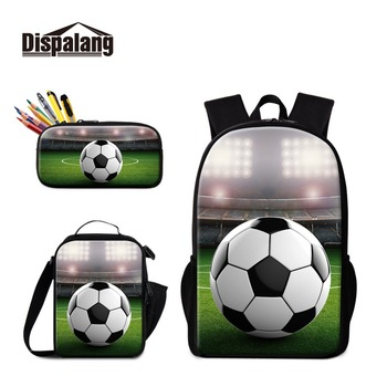Dispalang Footballs School Backpack For Boys Cooler Bag Lunch Pencil Box Set Basketballs Bookbags For Student Male Cool Rucksack