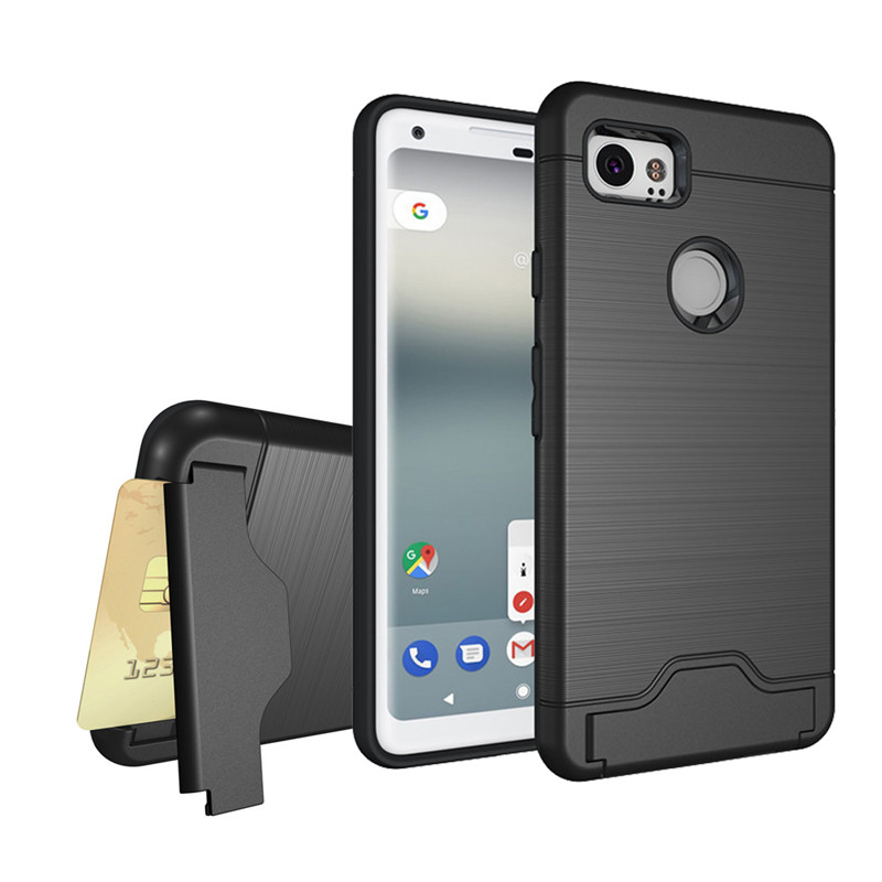 Case Cover For Google Pixel 2 XL Shell Shockproof TPU+PC Brushed Armor Back Hard Case For Google Pixel2 XL With Card Pocket