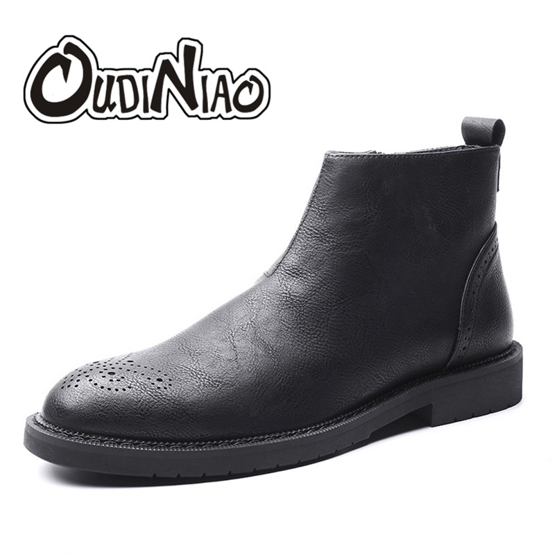 OUDINIAO Brogues British Fashion Classic Pointed Toe Ankle Men Boots Sewing Vintage Zip Design Casual Solid Boots Men Black