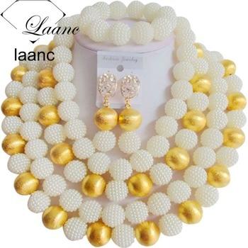 Brand Laanc Big Necklace Bridal Imitation Pearl Jewelry Set Nigerian Wedding African Beads Dubai AL188