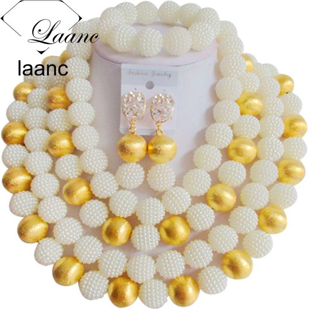 Marque Laanc grand collier nuptiale Imitation perle bijoux ensemble nigérian mariage perles africaines Dubai AL188