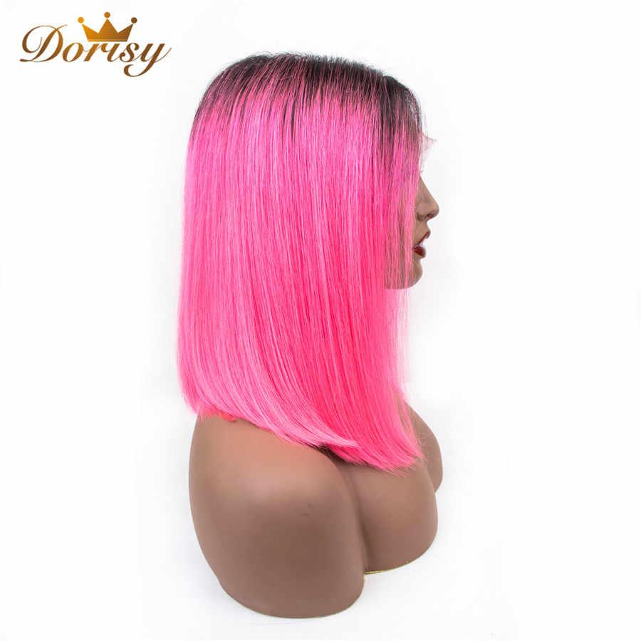 Цветные Ombre 1B/розовые человеческие волосы на кружеве парики прямые Ким К средняя часть бразильские парики для черных женщин Dorisy Non Remy