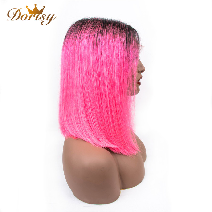 Short Human Hair Wigs Colored Ombre 1B/Pink Lace Wig For Black Women Middle Part Brazilian Straight Hair Wigs Dorisy Non Remy