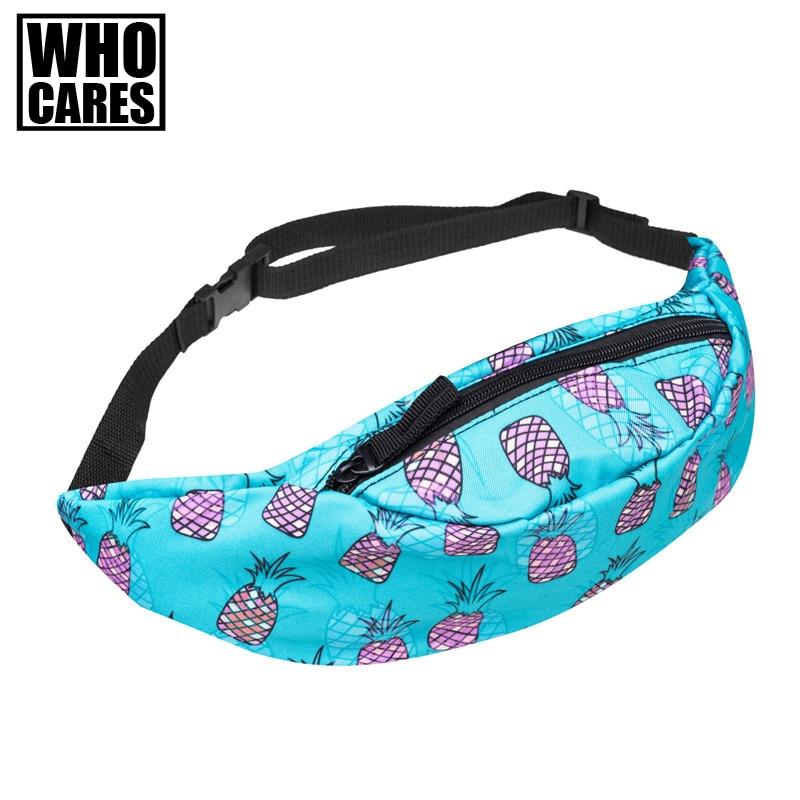 Hot sales full bandana black 3d printing fashion waist bag women fanny packs belt bum bag waist packs for men