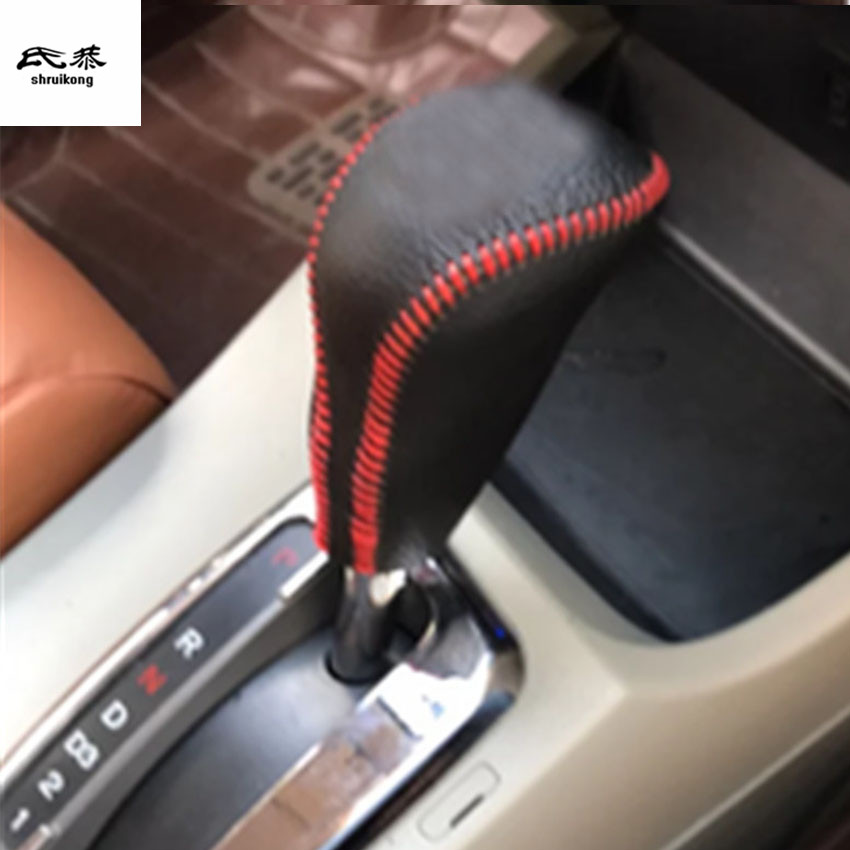 AT / MT 1pc genuine leather Gear lever and parking brake hand brake cover for 2012-2015 HONDA civic MK9