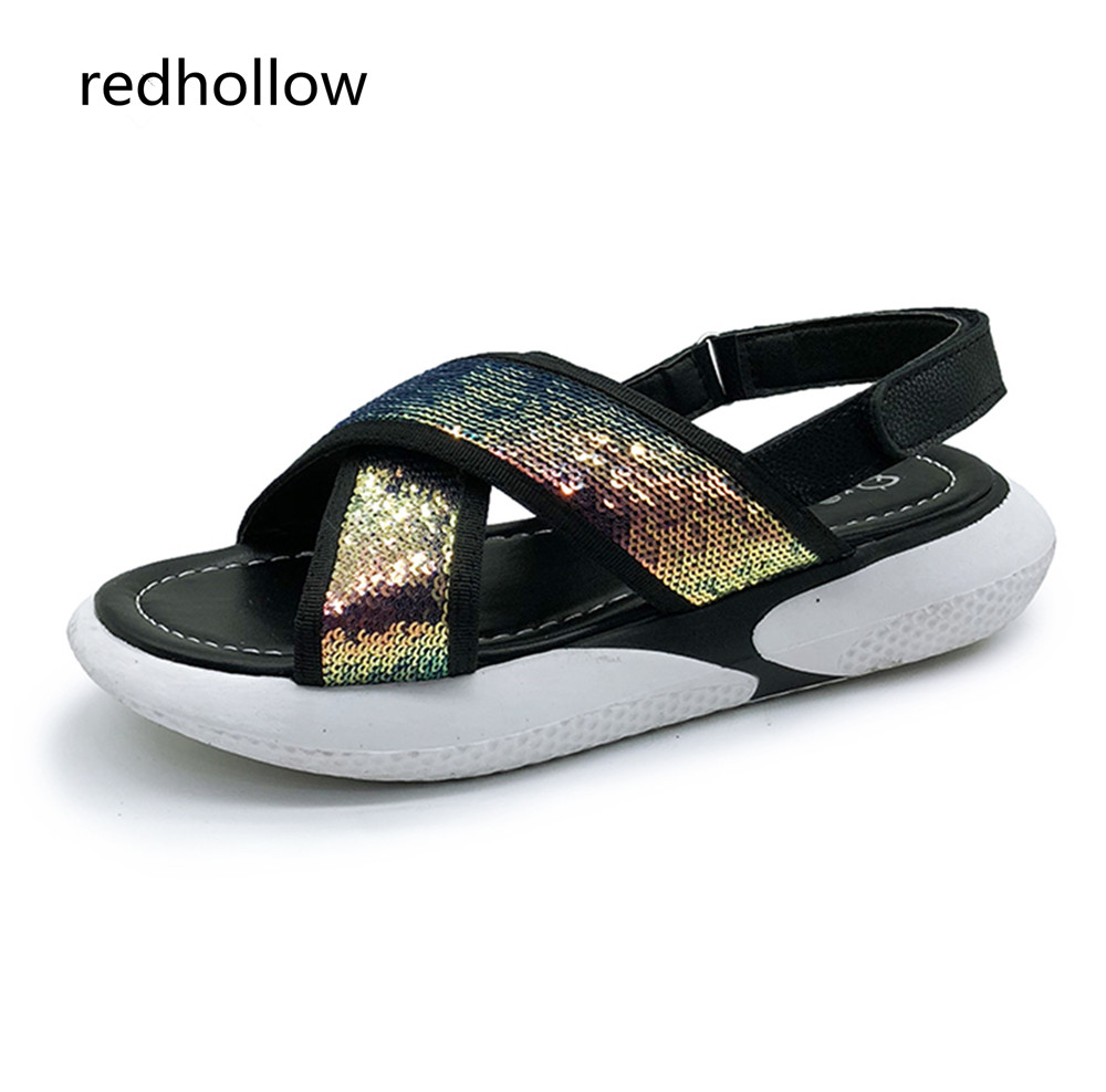 Women Sandals Summer Casual Shoes Flat Beach Platform Sandals Fashion Bling Women Comfort Walking Shoes Peep Toe Ladies Footwear in Women 39 s Sandals from Shoes