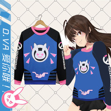 Round Rinn Game OW D.VA Rabbit Cosplay Costumes Dva Cute Sweatshirts Unisex