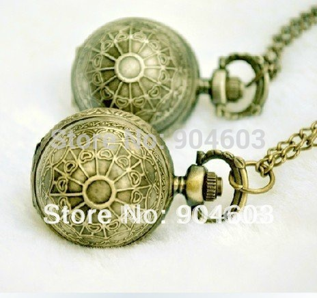 (3081)12pcs/lot Victorian Style Vintage Antique Bronze Sphere Ball Quart Watch N