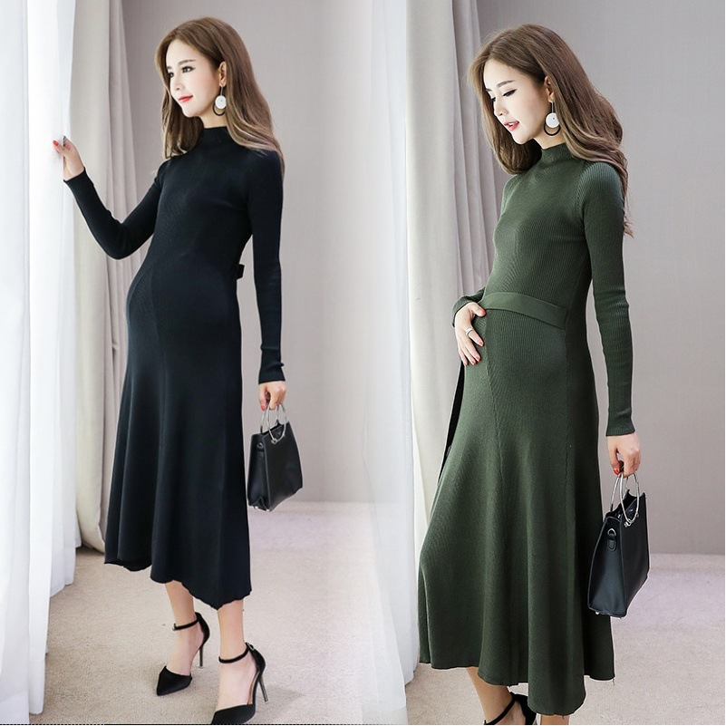 Maternity Dress Autumn Winter Long Sleeve Pregnancy Knitted Clothes Long Dress for Pregnant Women Maternity Clothes with Belt iadoaixnal knitted patchwork floral print belt slim full sleeve women dress summer o neck asymmetrical vintage female long dress
