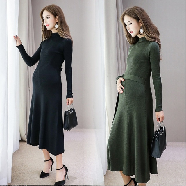 Maternity Dress Autumn Winter Long Sleeve Pregnancy Knitted Clothes Long Dress for Pregnant Women Maternity Clothes with Belt