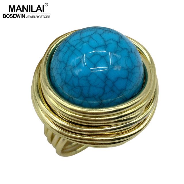 MANILAI 4 Colors Wire Spiral Acrylic Handmade Rings Women Cheap Wholesale Fashio