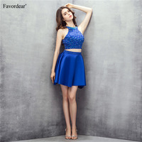 Favordear Littlle Formal Dress 100% Real Photo Halter Two Pieces Royal Blue Sexy Backless Satin Mini Prom Dress