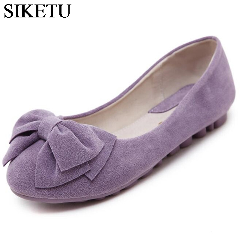 цена SIKETU Sweet Bowknot Flat Shoes Soft Bottom Casual Shallow Mouth Purple Pink Suede Flats Slip On Loafers For Women Size 35-40 онлайн в 2017 году