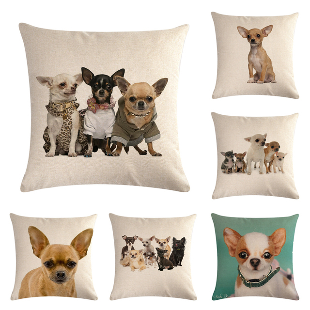 Pet Chihuahua Cane Cotone Lino Throw Pillow Caso Cuscino Arredamento Cuscini Dec