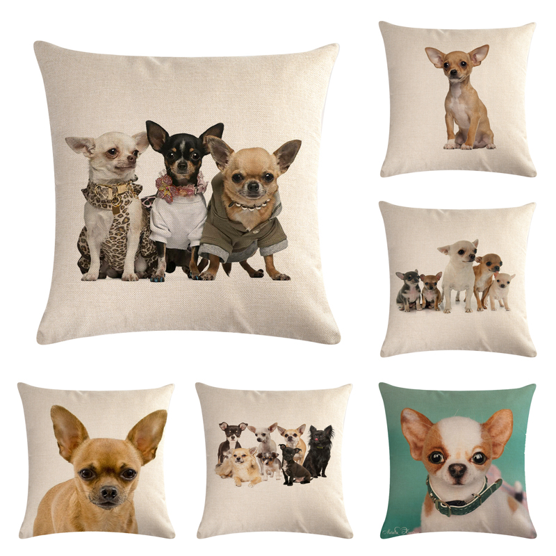 Pet Chihuahua Dog Cotton Linen Throw Pillow Case Cushion Cover Home Decor Decorative Pillows For Sofa Seat Cushion 45cm*45cm