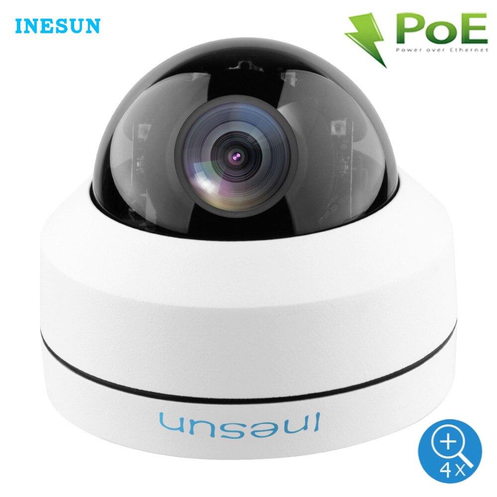 Inesun Outdoor 2MP 5MP PoE IP Security Dome Camera Pan Tilt 4X Zoom PTZ Camera Waterproof